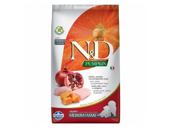 Farmina (Фармина) N&DGrainFreePumpkinChicken&PomegranatePuppyMediumMaxi корм для щенков средних и крупных пород КУРИЦА, ТЫКВА, ГРАНАТ
