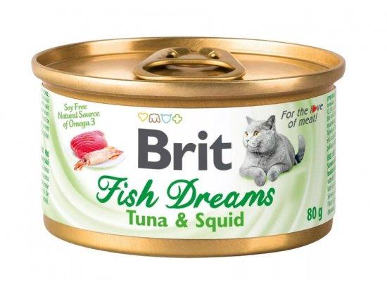 Brit Fish Dreams TUNA & SQUID консервы для кошек (тунец и кальмар), 80 г