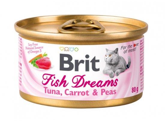 Brit Fish Dreams TUNA, CARROT & PEAS консервы для кошек (тунец, морковь и горох), 80 г