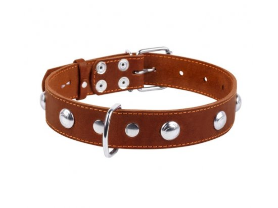 Collar (Коллар) - Кожаный ошейник для собак одинарный с металлическими украшениями (длина 48-63 см)