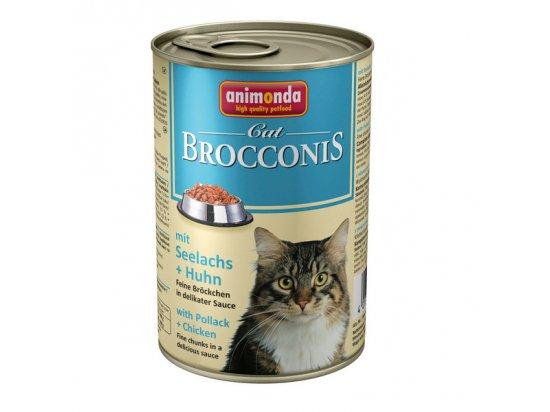 Animonda (Анимонда) Brocconis Cat mit Seelachs+huhn - консервы для кошек с САЙДОЙ и КУРИЦЕЙ, кусочки в соусе 400 г