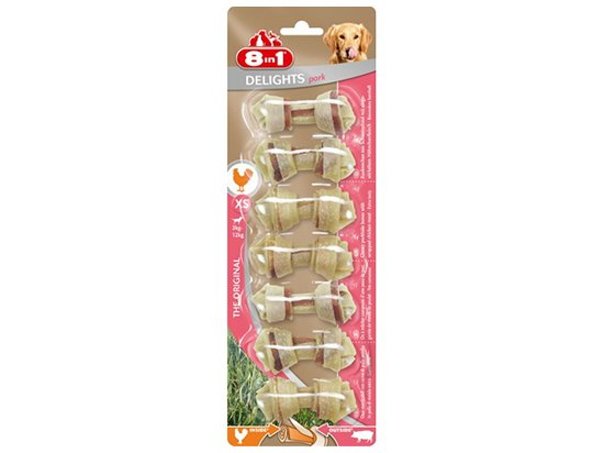 8in1 (8 в 1) Delights Pork XS кость с мясом свинины - лакомства для собак