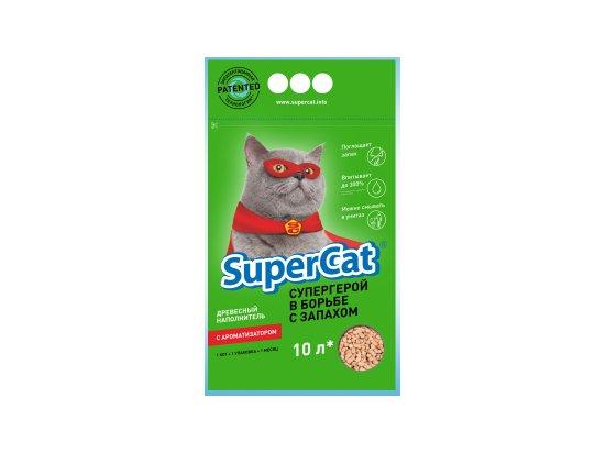 SUPER CAT Наполнитель Суперкет Стандарт с ароматизатором ЗЕЛЕНЫЙ, 3 кг