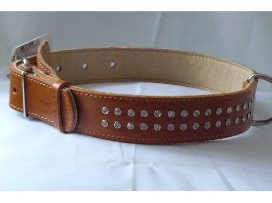 Collar Кожаный ошейник двойной для собак со стразами  (СКИДКА 30% - РАСПРОДАЖА)