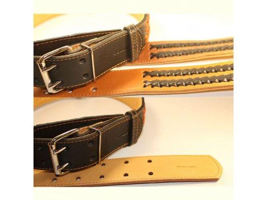 Collar - Кожаный ошейник двойной с вплетенной косой