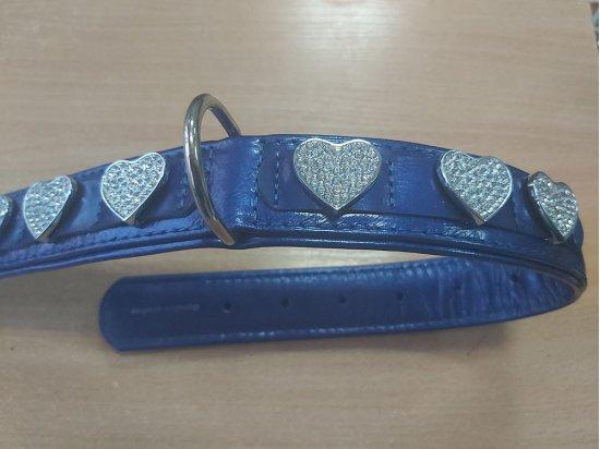 Collar Brilliance СЕРДЦЕ ошейник со стразами премиум класса, лакированная кожа (длина 46-60 см)