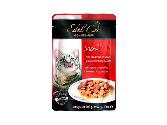 Edel Cat (Эдель Кeт) mit Leber und Kaninchen - консервы для кошек - кусочки в соусе, печень и кролик