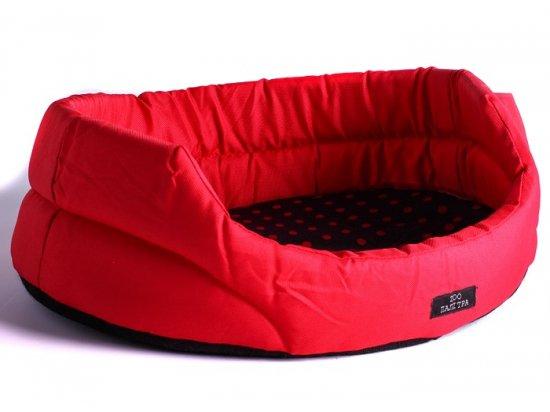 ЗООПАЛИТРА Нейлоновый лежак CREATIVE овальный без съемной подушки В КРАСНЫЙ ГОРОХ (СКИДКА 15% - РАСПРОДАЖА)