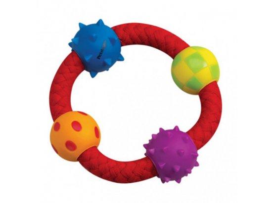 PETSTAGES Multi Texture Chew Ring - Канат-кольцо с мячиками - игрушка для собак, диаметр 11 см