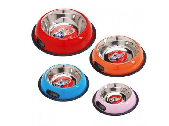 CAMON Миска для собак и кошек (цветная, стальная, с резиновым ободком)