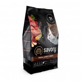 Savory (Сейвори) ADULT CAT SENSITIVE DIGESTION корм для кошек с чувствительным пищеварением ЯГНЕНОК и ИНДЕЙКА