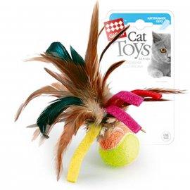 GiGwi (Гигви) Catch&Scratch МЯЧИК игрушка для котов с перьями, 6 см