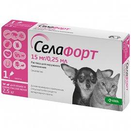 KRKA Селафорт Капли от блох, клещей и гельминтов для щенков, котят и взрослых животных до 2,5 кг (1 пипетка)