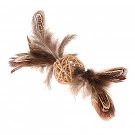 GiGwi (Гигви) Catch&Scratch ПЛЕТЕНЫЙ МЯЧИК игрушка для котов с колокольчиком и перьями, 13 см