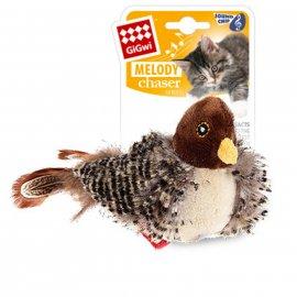 GiGwi (Гигви) Melody Chaser ПТИЧКА игрушка для котов со звуковым чипом и кошачьей мятой, 13 см