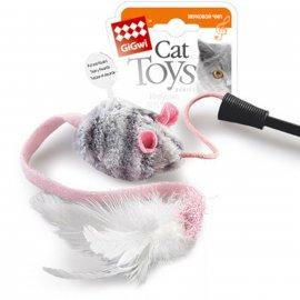 GiGwi (Гигви) Teaser ДРАЗНИЛКА игрушка для котов на стеке с мышкой со звуковым эффектом, 51 см