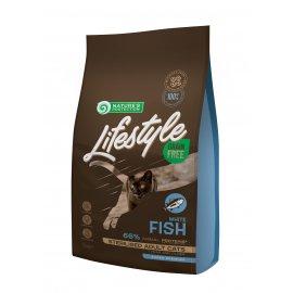 Natures Protection Lifestyle GRAIN FREE WHITE FISH STERILISED беззерновой корм для стерилизованных взрослых кошек БЕЛАЯ РЫБА