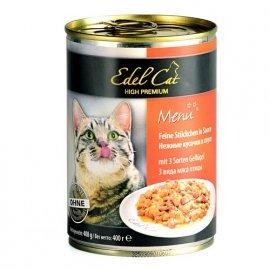 Edel Cat (Эдель Кeт) mit 3 Sorten Geflugel - консервы для кошек - кусочки в соусе (3 вида мяса птицы)