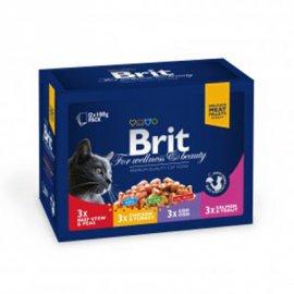 Brit Premium Cat Family Plate - Консервированный корм для кошек 4 вкуса ассорти