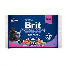 Brit Premium FISH PLATE (РЫБНАЯ ТАРЕЛКА) набор консерв для кошек 400 г (4х100 г)