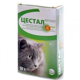 Ceva ЦЕСТАЛ КЕТ антигельминтик для кошек со вкусом печени, 1 таблетка