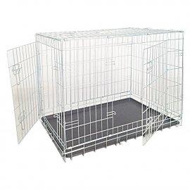 Croci Клетка для собак складная с 2-я дверьми и пластиковым поддоном, цинк