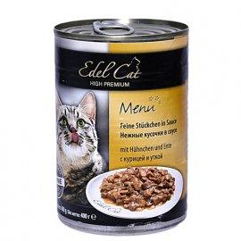 Edel Cat Консервы для кошек - кусочки в соусе, УТКА и КУРИЦА
