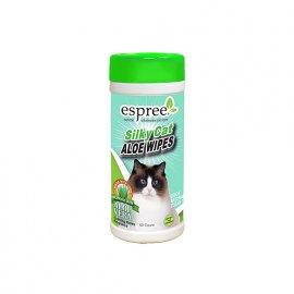 ESPREE (Эспри) Silky Cat Aloe Wipes - салфетки для нежного очищения чувствительной кожи и шерсти котов, 50 шт