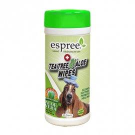 ESPREE (Эспри) Tea Tree and Aloe Wipes - Влажные салфетки с маслом чайного дерева и алое для собак, 50 шт.