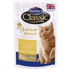 Butcher`s Classic Delicious Dinners консервы для кошек КУРИЦА И ПЕЧЕНЬ в соусе, 100 г (пауч)