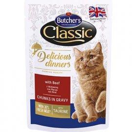 Butcher`s Classic Delicious Dinners консервы для кошек ГОВЯДИНА в соусе, 100 г (пауч)