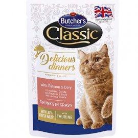 Butcher`s Classic Delicious Dinners консервы для кошек ЛОСОСЬ И ДОРИ в соусе, 100 г (пауч)