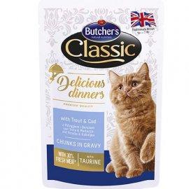 Butcher`s Classic Delicious Dinners консервы для кошек ФОРЕЛЬ И ТРЕСКА в соусе, 100 г (пауч)