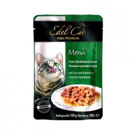 Edel Cat (Эдель Кeт) mit Ente und Kaninchen - консервы для кошек - кусочки в соусе, утка и кролик