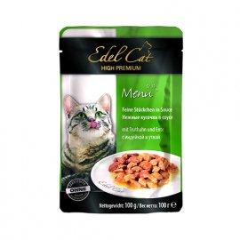 Edel Cat (Эдель Кeт) mit Truthahn und Ente - консервы для кошек - кусочки в соусе, утка и индейка