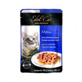 Edel Cat (Эдель Кeт) mit Lachs und Forelle - консервы для кошек - кусочки в соусе, лосось и форель