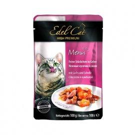 Edel Cat (Эдель Кeт) mit Lachs und Scholle - консервы для кошек - кусочки в желе, лосось и камбала