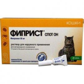 Krka FIPRIST SPOT-ON (ФИПРИСТ ОТ БЛОХ И КЛЕЩЕЙ) капли на холку для кошек, 1 пипетка х 0,5 мл