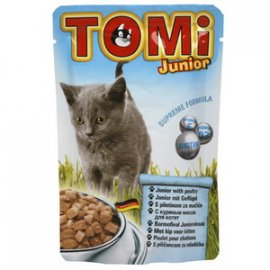 TOMi Junior консервы для котят - кусочки в соусе, курица (пауч)