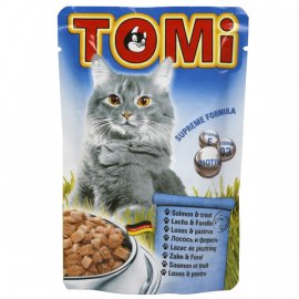 TOMi Salmon+Trout консервы для кошек - кусочки в соусе, лосось и форель (пауч)
