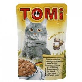 TOMi Poultry+Rabbit консервы для кошек - кусочки в соусе, птица и кролик (пауч)