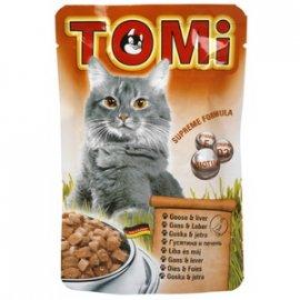 TOMi Goose+Liver консервы для кошек - кусочки в соусе, гусь и печень (пауч)