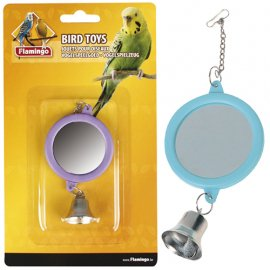 Flamingo MIRROR ROUND+BELL игрушка для попугаев круглое зеркало с колокольчиком