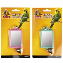 Flamingo (Фламинго) MIRROR STRAIGHT+BELL игрушка для попугаев квадратное зеркало с колокольчиком