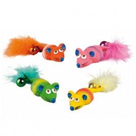 Flamingo MOUSE FEATHER & BELL игрушка для кошек, латексная мышка с перышком и колокольчиком