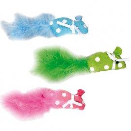Flamingo POLKA MOUSE игрушка для кошек, мышка с пером и кошачьей мятой