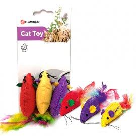Flamingo SUPERMOUSE мышь c перьями и кошачьей мятой, игрушка для котов, 3 шт