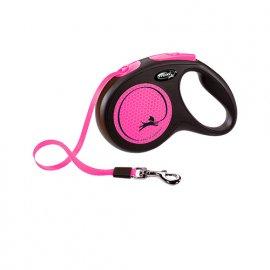 Flexi NEW NEON поводок-рулетка для собак S, лента (5 м / 15 кг)