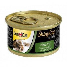 Gimсat (Джимкет) SHINY CAT JELLY (КУРИЦА & ТРАВА В ЖЕЛЕ) консервы для кошек 70 г