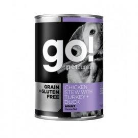 GO! GRAIN FREE TURKEY, CHICKEN & DUCK консервы для собак С ИНДЕЙКОЙ, КУРИЦЕЙ и УТКОЙ 400 г